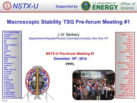 Macroscopic Stability TSG Pre-forum Meeting #1 J.W. Berkery Department of Applied Physics, Columbia University, New York, NY NSTX-U Supported by Culham.