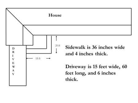 House 18 ft 20 ft Sidewalk is 36 inches wide and 4 inches thick. Driveway is 15 feet wide, 60 feet long, and 6 inches thick. DRIVEWAYDRIVEWAY.