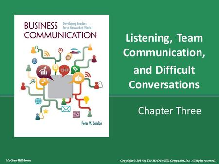 Chapter Three Listening, Team Communication, and Difficult Conversations McGraw-Hill/Irwin Copyright © 2014 by The McGraw-Hill Companies, Inc. All rights.