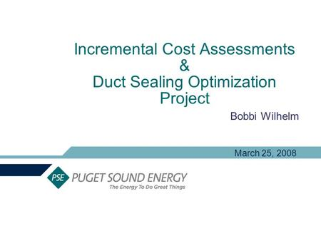 Incremental Cost Assessments & Duct Sealing Optimization Project Bobbi Wilhelm March 25, 2008.