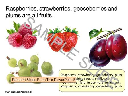 www.ks1resources.co.uk Raspberries, strawberries, gooseberries and plums are all fruits. Raspberry, strawberry, gooseberry, plum, Fruit picking time is.