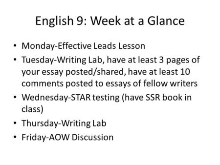 English 9: Week at a Glance Monday-Effective Leads Lesson Tuesday-Writing Lab, have at least 3 pages of your essay posted/shared, have at least 10 comments.