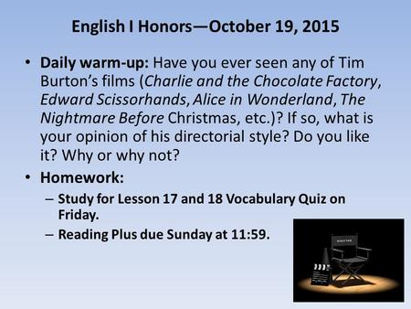 English I Honors—October 19, 2015