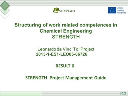 Structuring of work related competences in Chemical Engineering STRENGTH Leonardo da Vinci ToI Project 2013-1-ES1-LEO05-66726 RESULT 6 STRENGTH Project.