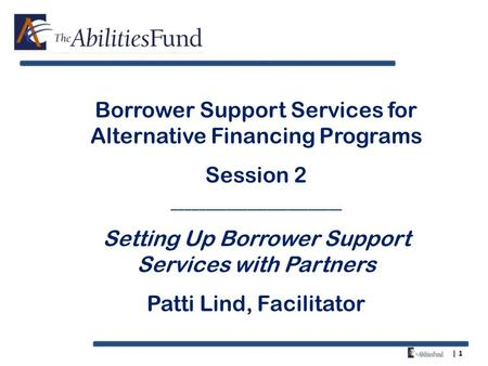 | 1 Borrower Support Services for Alternative Financing Programs Session 2 _________________________ Setting Up Borrower Support Services with Partners.