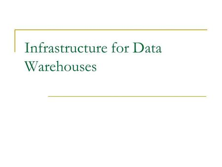 Infrastructure for Data Warehouses. Basics Of Data Access Data Store Machine Memory Buffer Memory Cache Data Store Buffer Bus Structure.