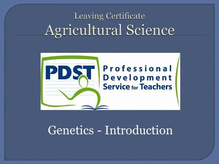 Genetics - Introduction.  Genetics is the study of inheritance.  In terms of agriculture, genetics is everything.  An understanding of genetics is.