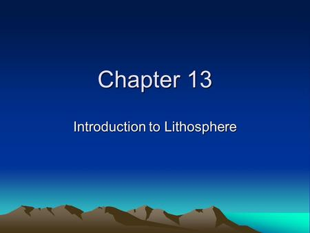 Introduction to Lithosphere
