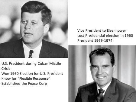 "U.S. President during Cuban Missile Crisis Won 1960 Election for U.S. President Know for ""Flexible Response"" Established the Peace Corp Vice President."