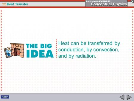 22 Heat Transfer Heat can be transferred by conduction, by convection, and by radiation.