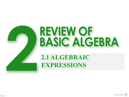 Slide: 1 2.1 ALGEBRAIC EXPRESSIONS. Slide: 2 Algebra is a branch of mathematics that is used to analyze and solve day-to-day business and finance problems.