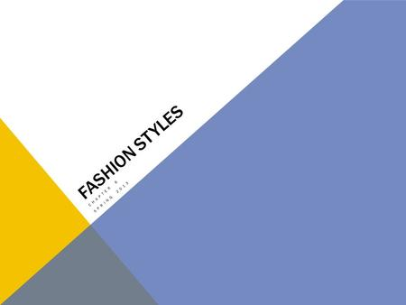 FASHION STYLES CHAPTER 6 SPRING 2013. WHAT DO YOU THINK? Do you like keeping up with the fast pace changing fashion styles? What might affect you ability.