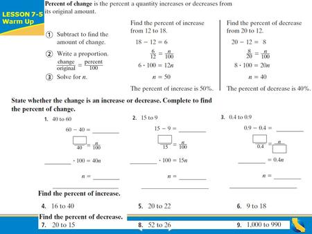 ALGEBRA READINESS LESSON 7-5 Warm Up Lesson 7-5 Warm-Up.