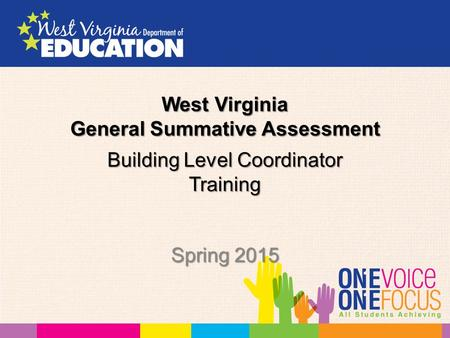 Building Level Coordinator Training Spring 2015 West Virginia General Summative Assessment.