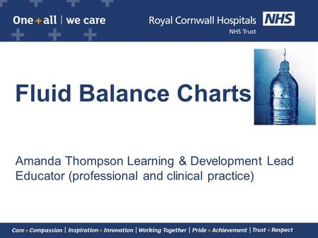 Fluid Balance Charts Amanda Thompson Learning & Development Lead Educator (professional and clinical practice)