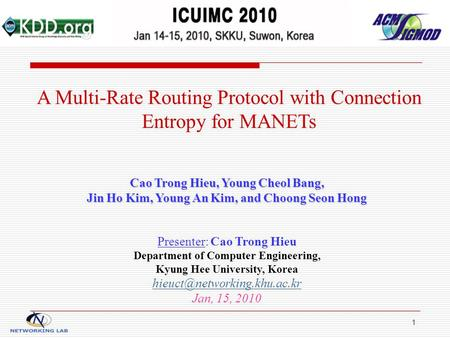 1 A Multi-Rate Routing Protocol with Connection Entropy for MANETs Cao Trong Hieu, Young Cheol Bang, Jin Ho Kim, Young An Kim, and Choong Seon Hong Presenter: