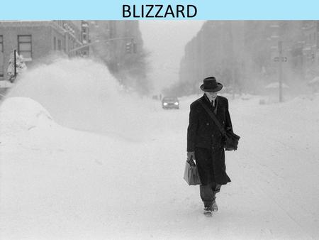 BLIZZARD. What is a blizzard? A blizzard is when strong winds are used to make a severe snowstorm and it happens when it's in low temperature. There's.