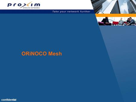 Confidential ORiNOCO Mesh.  Webster's  A highly interconnected network of computers or networking hardware  An upcoming IEEE 802.11 standard (802.11s)