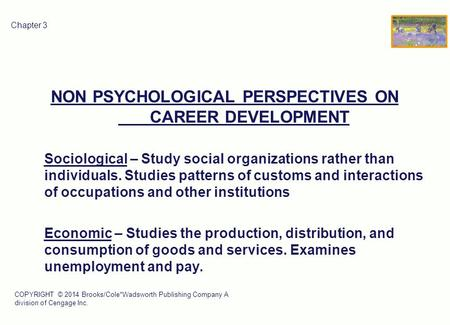 COPYRIGHT © 2014 Brooks/Cole*Wadsworth Publishing Company A division of Cengage Inc. 1 Chapter 3 NON PSYCHOLOGICAL PERSPECTIVES ON CAREER DEVELOPMENT Sociological.