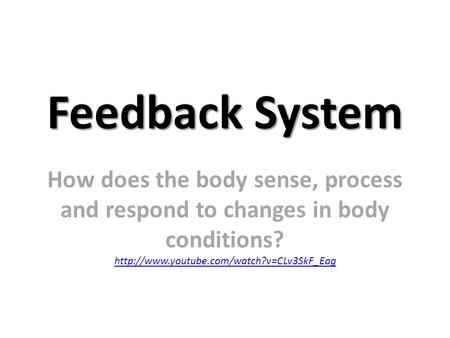 Feedback System How does the body sense, process and respond to changes in body conditions?