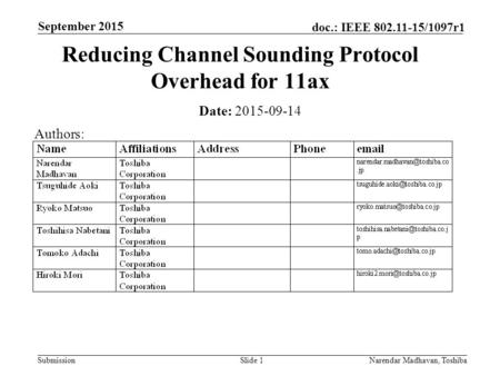 Submission doc.: IEEE 802.11-15/1097r1 September 2015 Narendar Madhavan, ToshibaSlide 1 Reducing Channel Sounding Protocol Overhead for 11ax Date: 2015-09-14.