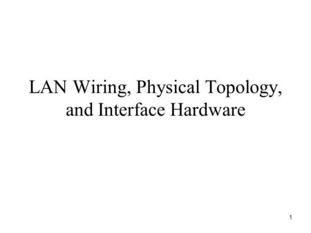 1 LAN Wiring, Physical Topology, and Interface Hardware.