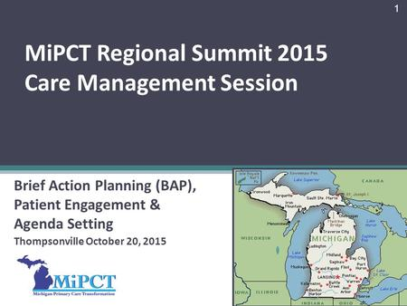 MiPCT Regional Summit 2015 Care Management Session Brief Action Planning (BAP), Patient Engagement & Agenda Setting Thompsonville October 20, 2015 1.