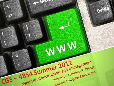CGS – 4854 Summer 2012 Web Site Construction and Management Instructor: Francisco R. Ortega Chapter 5 Regular Expressions.