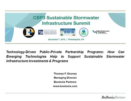Technology-Driven Public-Private Partnership Programs: How Can Emerging Technologies Help to Support Sustainable Stormwater Infrastructure Investments.