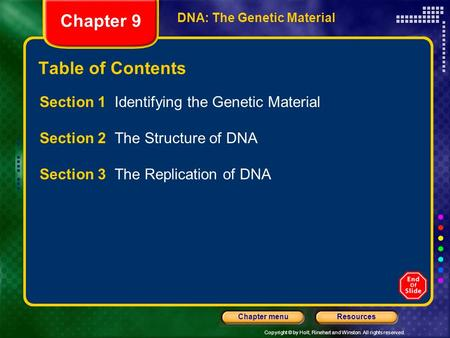 Copyright © by Holt, Rinehart and Winston. All rights reserved. ResourcesChapter menu DNA: The Genetic Material Chapter 9 Table of Contents Section 1.