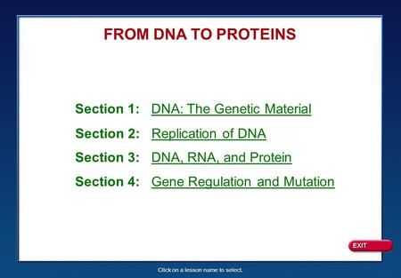 Click on a lesson name to select. FROM DNA TO PROTEINS Section 1: DNA: The Genetic Material Section 2: Replication of DNA Section 3: DNA, RNA, and Protein.