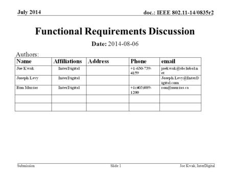 Submission doc.: IEEE 802.11-14/0835r2 July 2014 Joe Kwak, InterDigitalSlide 1 Functional Requirements Discussion Date: 2014-08-06 Authors: