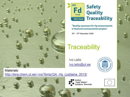 Traceability Ivo Leito Materials: