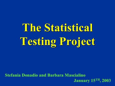 The Statistical Testing Project Stefania Donadio and Barbara Mascialino January 15 TH, 2003.