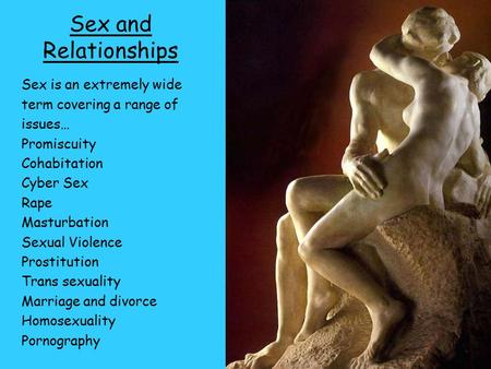 Sex and Relationships Sex is an extremely wide term covering a range of issues… Promiscuity Cohabitation Cyber Sex Rape Masturbation Sexual Violence Prostitution.