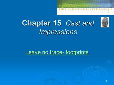 1 Chapter 15 Cast and Impressions Leave no trace- footprints Leave no trace- footprints.
