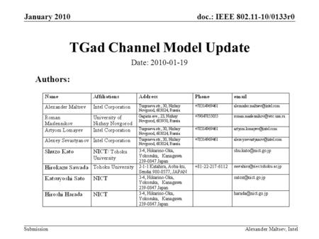 Doc.: IEEE 802.11-10/0133r0 Submission January 2010 Alexander Maltsev, Intel TGad Channel Model Update Authors: Date: 2010-01-19.