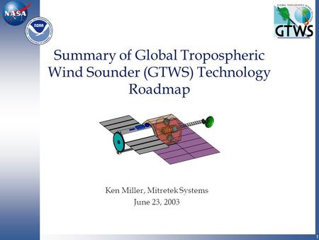 1 Summary of Global Tropospheric Wind Sounder (GTWS) Technology Roadmap Ken Miller, Mitretek Systems June 23, 2003.