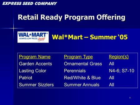 1 Retail Ready Program Offering Program NameProgram TypeRegion(s) Garden AccentsOrnamental GrassAll Lasting ColorPerennialsN4-6; S7-10 PatriotRed/White.