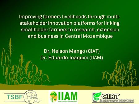Improving farmers livelihoods through multi- stakeholder innovation platforms for linking smallholder farmers to research, extension and business in Central.