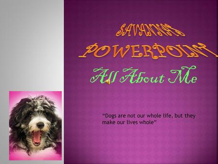 "All About Me ""Dogs are not our whole life, but they make our lives whole"""