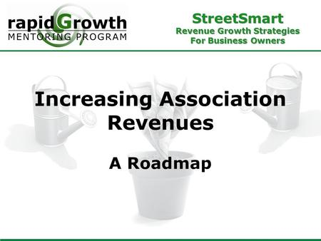 StreetSmart Revenue Growth Strategies For Business Owners Increasing Association Revenues A Roadmap.