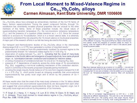From Local Moment to Mixed-Valence Regime in Ce 1−x Yb x CoIn 5 alloys Carmen Almasan, Kent State University, DMR 1006606 Ce 1−x Yb x CoIn 5 alloys have.