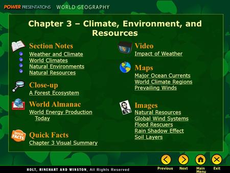 Chapter 3 – Climate, Environment, and Resources