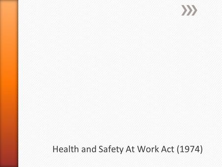 » The Health and Safety at Work etc. Act 1974 is the primary piece of legislation covering occupational health and safety in the United Kingdom. » The.