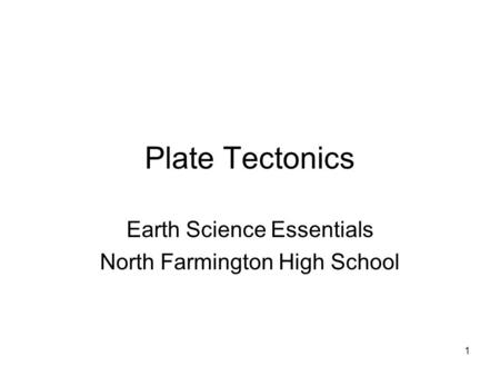 Earth Science Essentials North Farmington High School