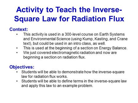 Activity to Teach the Inverse-Square Law for Radiation Flux