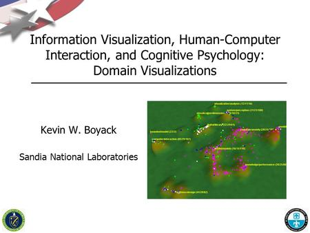 Information Visualization, Human-Computer Interaction, and Cognitive Psychology: Domain Visualizations Kevin W. Boyack Sandia National Laboratories.