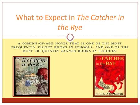 What to Expect in The Catcher in the Rye A COMING-OF-AGE NOVEL THAT IS ONE OF THE MOST FREQUENTLY TAUGHT BOOKS IN SCHOOLS, AND ONE OF THE MOST FREQUENTLY.