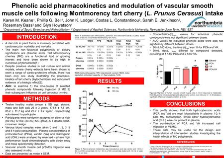 P henolic acid pharmacokinetics and modulation of vascular smooth muscle cells following Montmorency tart cherry (L. Prunus Cerasus) intake Karen M. Keane.